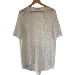 Temt Size Large White Crochet  Boho Open Cardigan.